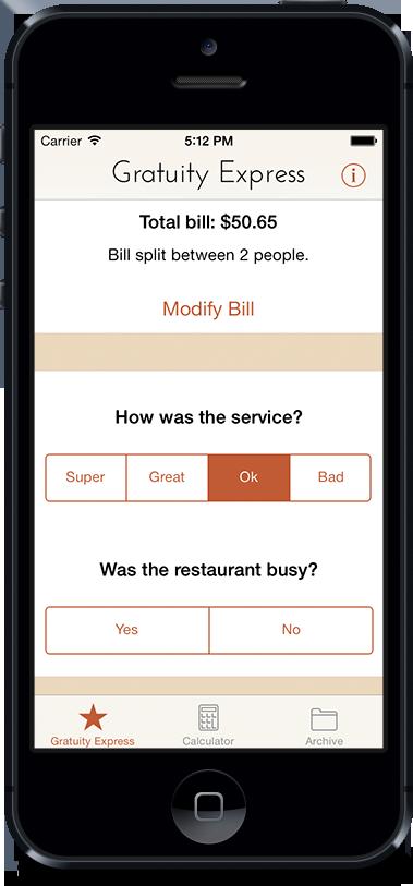 Gratuity Express 2.0 Question Screen